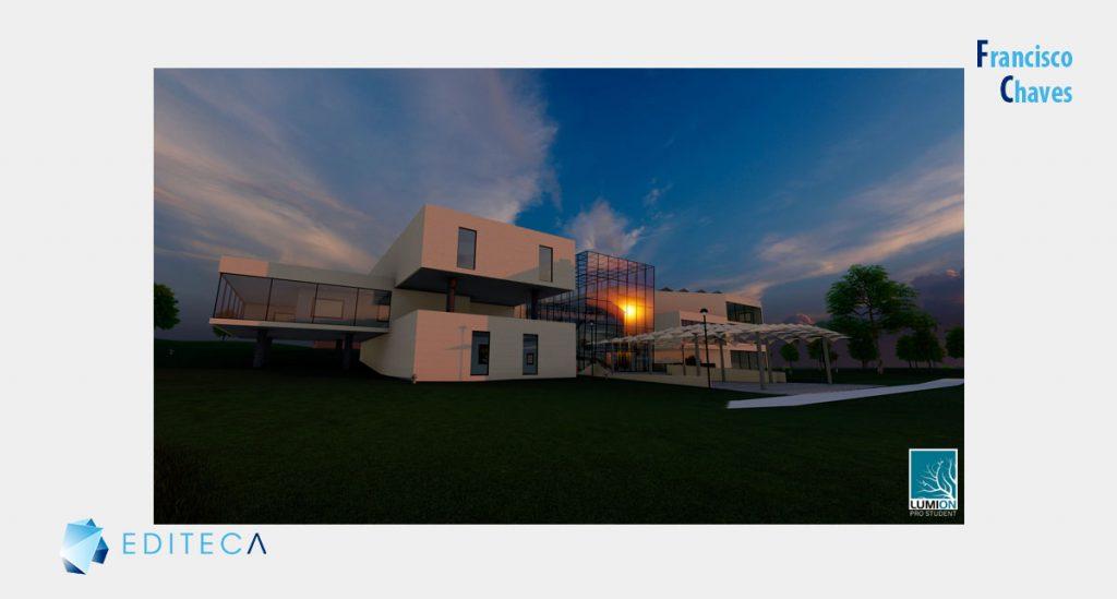 proyecto de lumion - Vista edificio atardecer