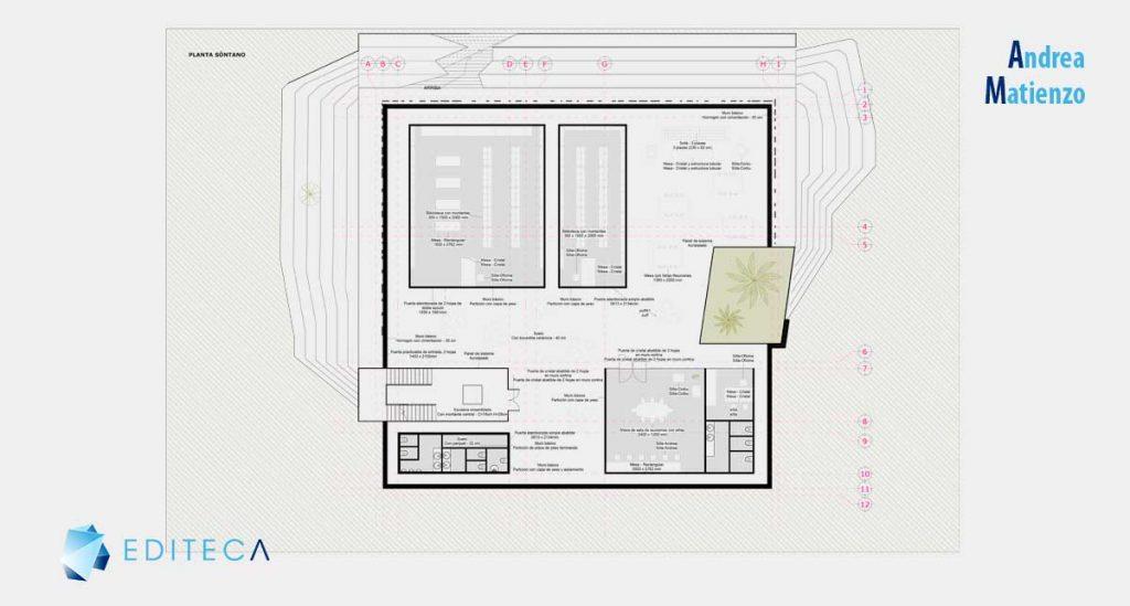 proyecto revit arquitectura intermedio-planta-sotano